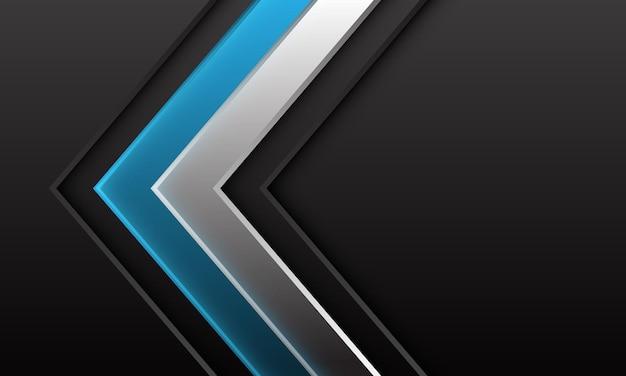 De abstracte blauwe zilveren richting van de pijlschaduw op donkergrijs metaal