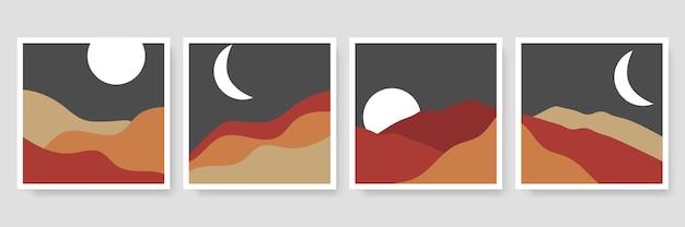 De abstracte collectie van landschapsillustraties. trendy kunst uit het midden van de eeuw, boho home decor, kunst aan de muur.