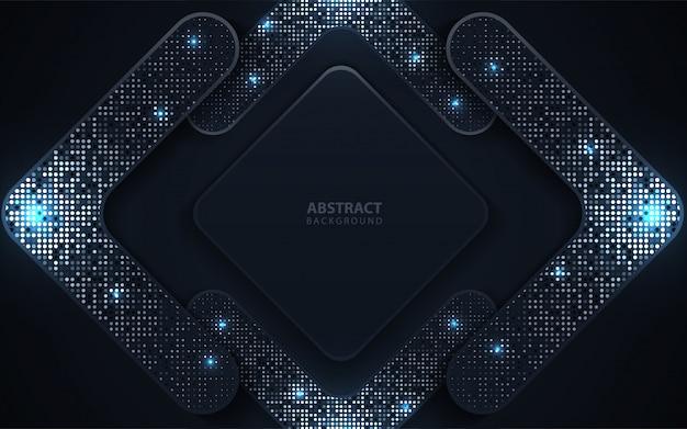 De abstracte donkerblauwe document overlappingsachtergrond met schittert decoratie