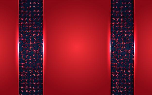 De abstracte donkerblauwe en rode achtergrond van overlappingslagen met schittert decoratie