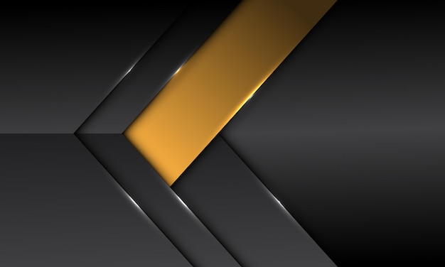 De abstracte donkergrijze metaalachtige gele richting van de bannerpijl met lege ruimteontwerp moderne futuristische achtergrond
