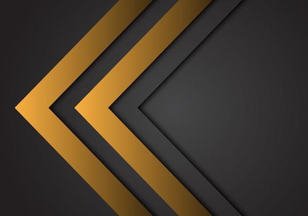 De abstracte gele richting van het pijlstaal op donkergrijze futuristische achtergrond.