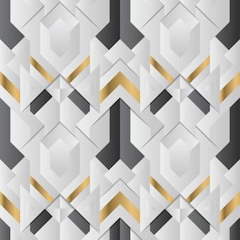 De abstracte gouden gevoerde vorm van het art deco moderne geometrische tegels naadloze patroon