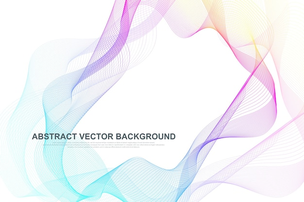 De abstracte kleurrijke achtergrond van golflijnen. cirkelvormig draadframe mesh-element.