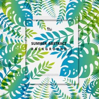 De abstracte kleurrijke natuurlijke decoratie van de zomerbladeren op wit