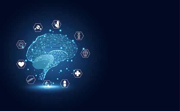 De abstracte medische medische hersenen van de technologie digitale gezondheid medische