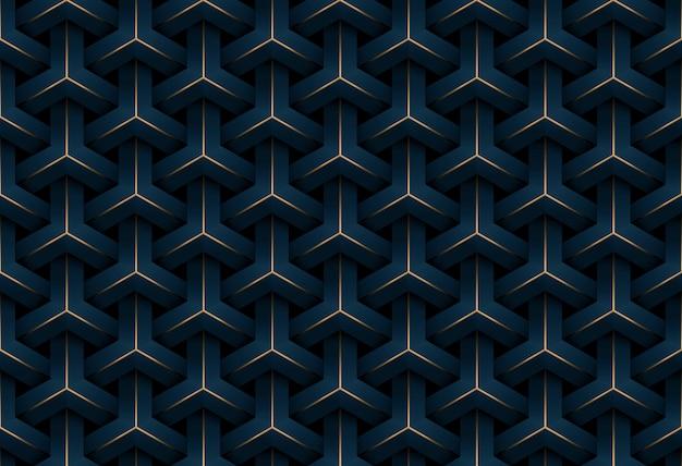 De abstracte naadloze achtergrond van het luxe donkerblauwe en gouden geometrische patroon