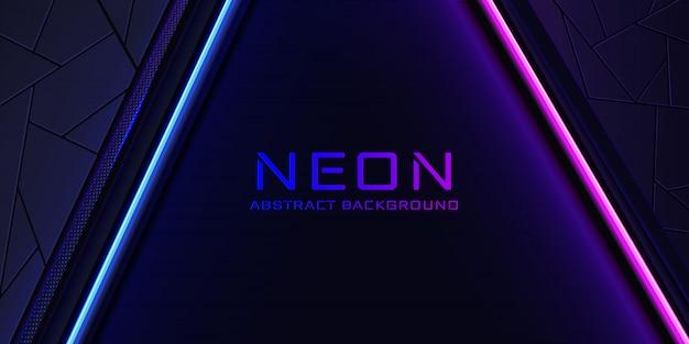 De abstracte neonachtergrond met een blauwe en roze lichte lijn en een textuur.