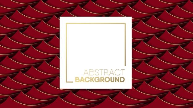 De abstracte rode achtergrond van de strepengolf met wit kader
