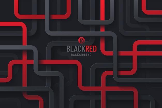 De abstracte rode grijze en zwarte geometrische overlappingslagen van de krommelijn op donkere achtergrond