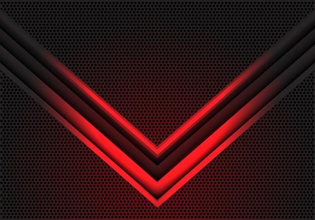 De abstracte rode richting van de pijl lichte schaduw op het patroon van het cirkelnetwerk ontwerpt moderne futuristische technologie vectorillustratie als achtergrond.