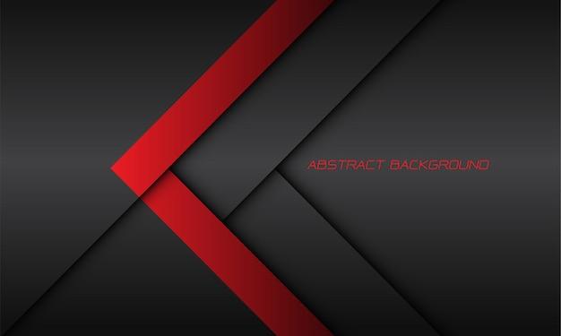 De abstracte rode richting van de pijlschaduw op donkergrijs met lege ruimte moderne futuristische technologieachtergrond
