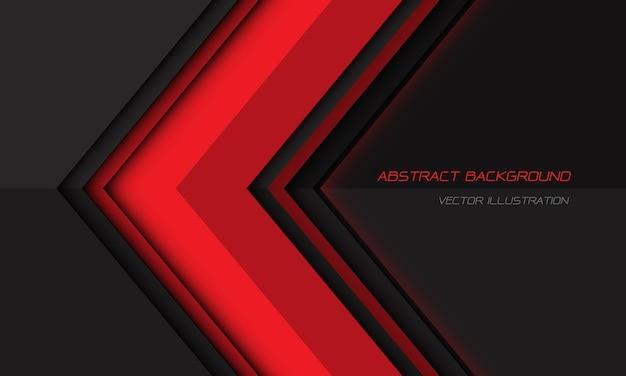 De abstracte rode richting van de schaduwpijl op donkergrijs met lege ruimte moderne futuristische achtergrond