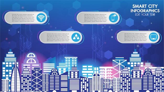 De abstracte slimme stad van de technologieinnovatie en de draadloze stad van de communicatienetwerknacht