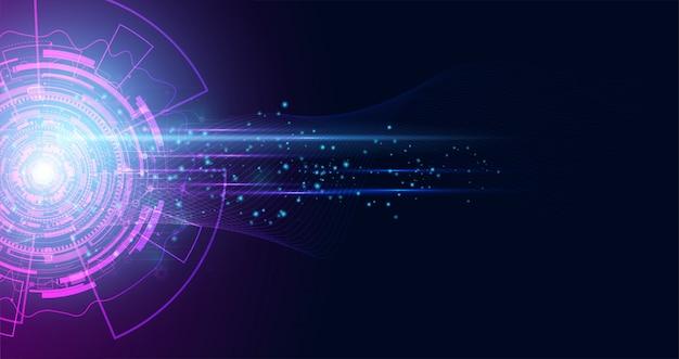 De abstracte snelheid van technologie hallo technologie achtergrondconceptencirkel
