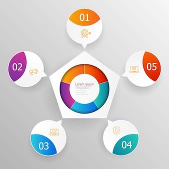 De abstracte stappen van cirkelinfographics voor presentatie of rapportillustratie