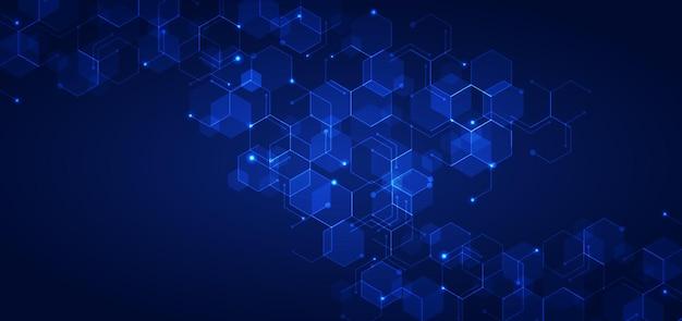 De abstracte technologie verbindt patroon van concepten blauw geometrisch zeshoeken met gloeiend licht op donkere achtergrond.