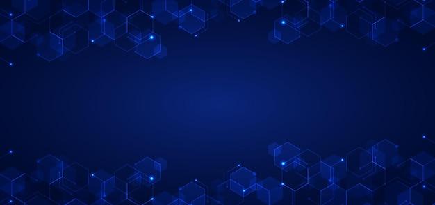 De abstracte technologie verbindt patroon van concepten blauw geometrisch zeshoeken