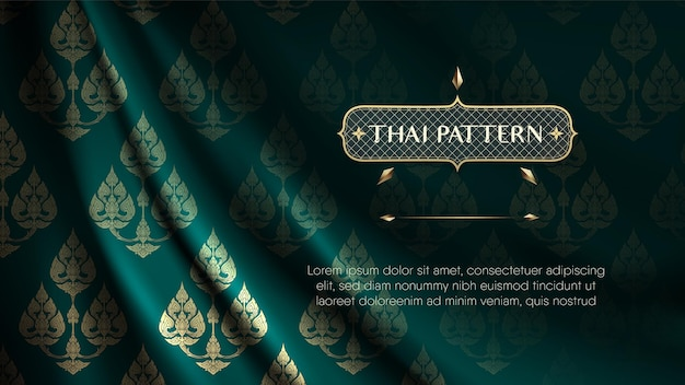 De abstracte traditionele thaise achtergrond van het bloemenpatroon op scheurkrul donkergroen gordijn.