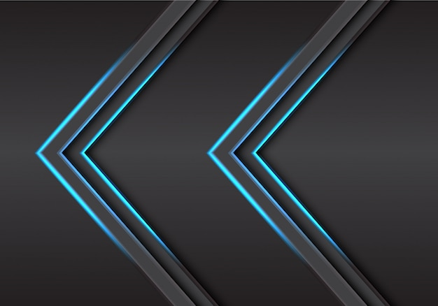 De abstracte tweeling blauwe richting van de pijl lichte schaduw op grijze van het metaalontwerp moderne futuristische technologie vectorillustratie als achtergrond.