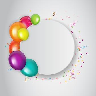 De abstracte uitnodiging van de verjaardagspartij met lege plaats voor foto.