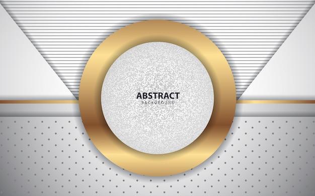 De abstracte witte achtergrond van overlappingslagen met gouden decoratie