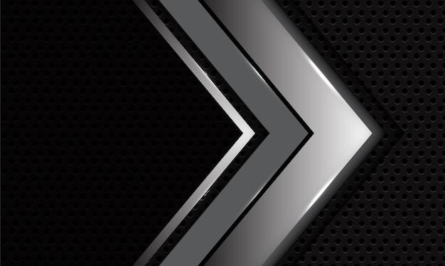 De abstracte zilveren zwarte richting van de schaduwpijl op donkergrijs met lege ruimte moderne luxeachtergrond