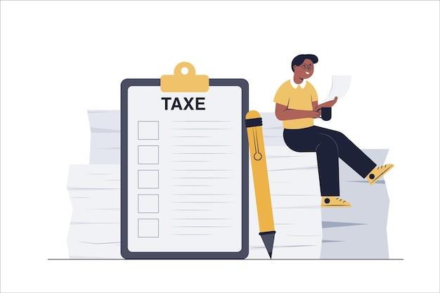De accountant stelt een lijst op van de belastingen van het bedrijf