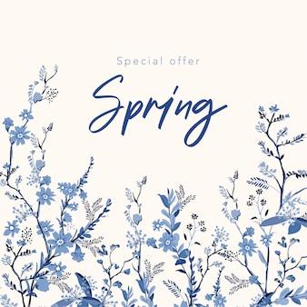 De achtergrond van de de lentebanner met mooie hand getrokken monotone blauwe bloemenillustratie