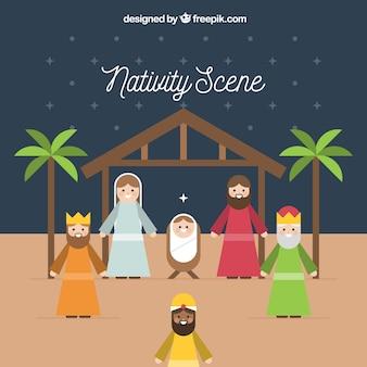De achtergrond van de geboorte van christusscène in vlak ontwerp