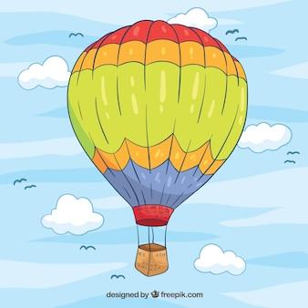 De achtergrond van de hete luchtballon met hemel in hand getrokken stijl