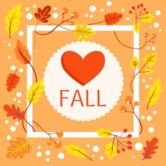 De achtergrond van de liefdedaling met kader en bladeren