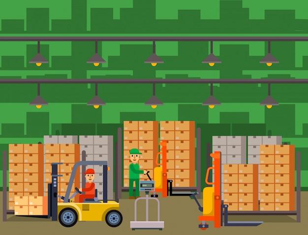 De achtergrond van de pakhuisbanner met het verschepen en leverings vlakke van de bedrijfs elementenopslag industrie illustratie.