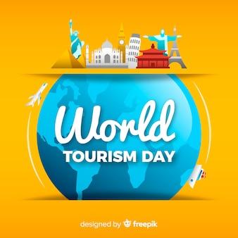 De achtergrond van de toerismedag met monumenten rond aarde