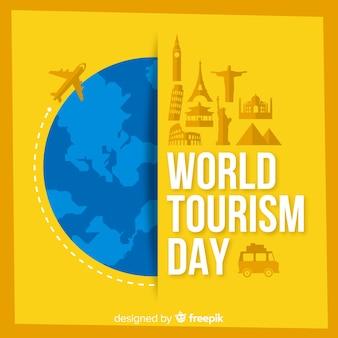 De achtergrond van de toerismedag met wereld en monumenten in vlak ontwerp