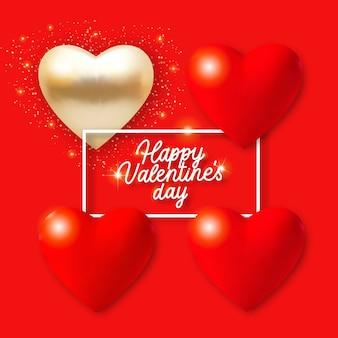 De achtergrond van de valentijnskaartendag met 3d rode en gouden harten, lichten en tekst. vakantie kaart illustratie op rode achtergrond.