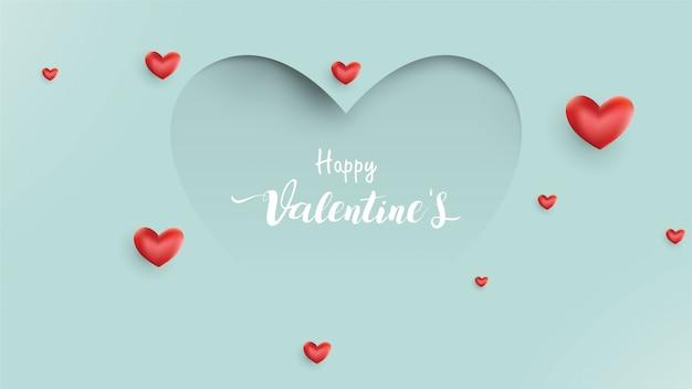 De achtergrond van de valentijnskaartendag met ballonshart en liefde