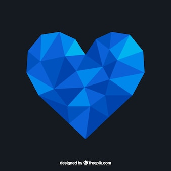 De achtergrond van de valentijnskaartendag met blauw veelhoekig hart