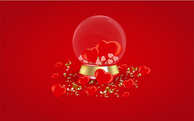 De achtergrond van de valentijnskaartendag met bolglas.