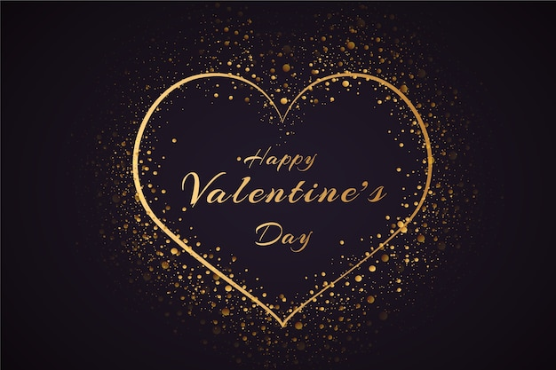 De achtergrond van de valentijnskaartendag met gouden deeltjes