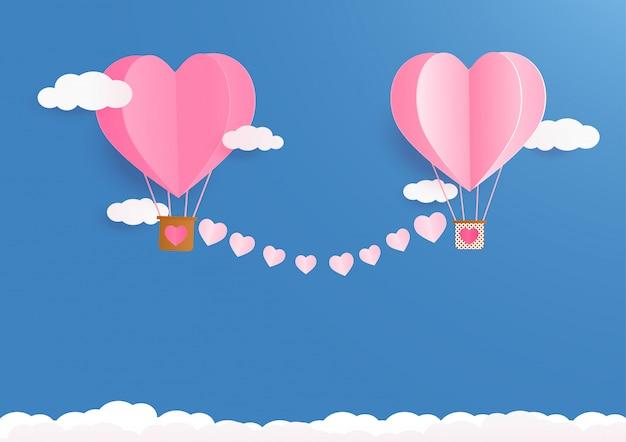 De achtergrond van de valentijnskaartendag met hartballons en wolken.