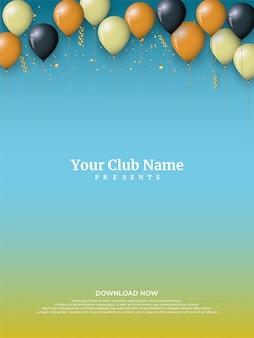 De achtergrond van de verjaardagspartij met kleurrijke ballonillustraties.