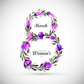 De achtergrond van de vrouwendag met kader bloeit 8 maart-kaart