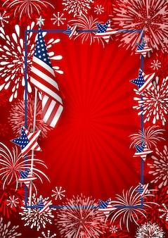 De achtergrond van de vs van de vlag van amerika en vuurwerk met lijnkader