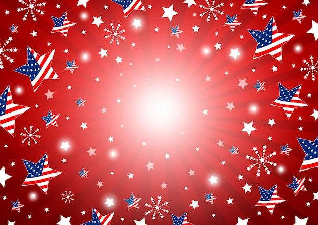 De achtergrond van de vs van de vlag van amerika in ster en vuurwerk
