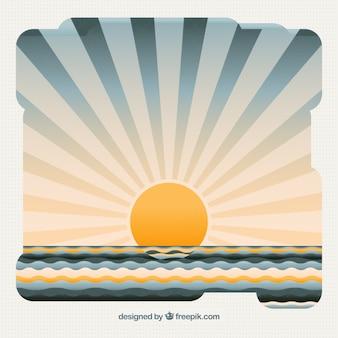 De achtergrond van een prachtige zonsondergang op zee