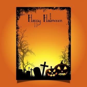 De achtergrond van halloween met griezelige pompoenen en begraafplaats