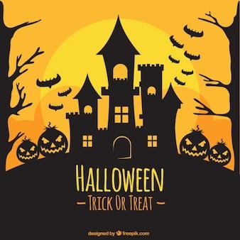 De achtergrond van halloween silhouet van het kasteel