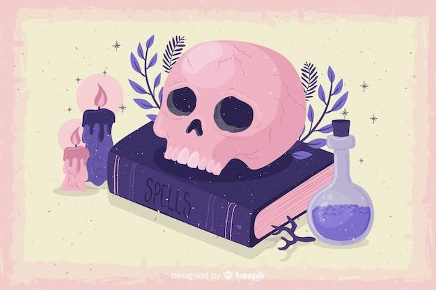 De achtergrond van halloween van grunge met schedel en vergift