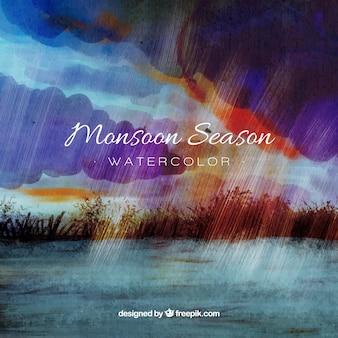 De achtergrond van het moessonseizoen in waterverfstijl